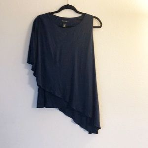 WHBM asymmetrical one sleeve navy blouse